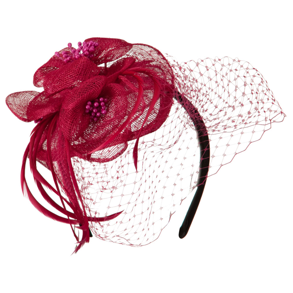 Sinamay Tear Drop Cocktail Hat - Fuchsia - Hats and Caps Online Shop - Hip Head Gear