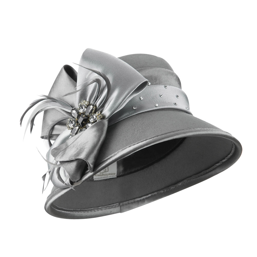 Wool Felt Dress Hat with Satin Bow - Grey - Hats and Caps Online Shop - Hip Head Gear