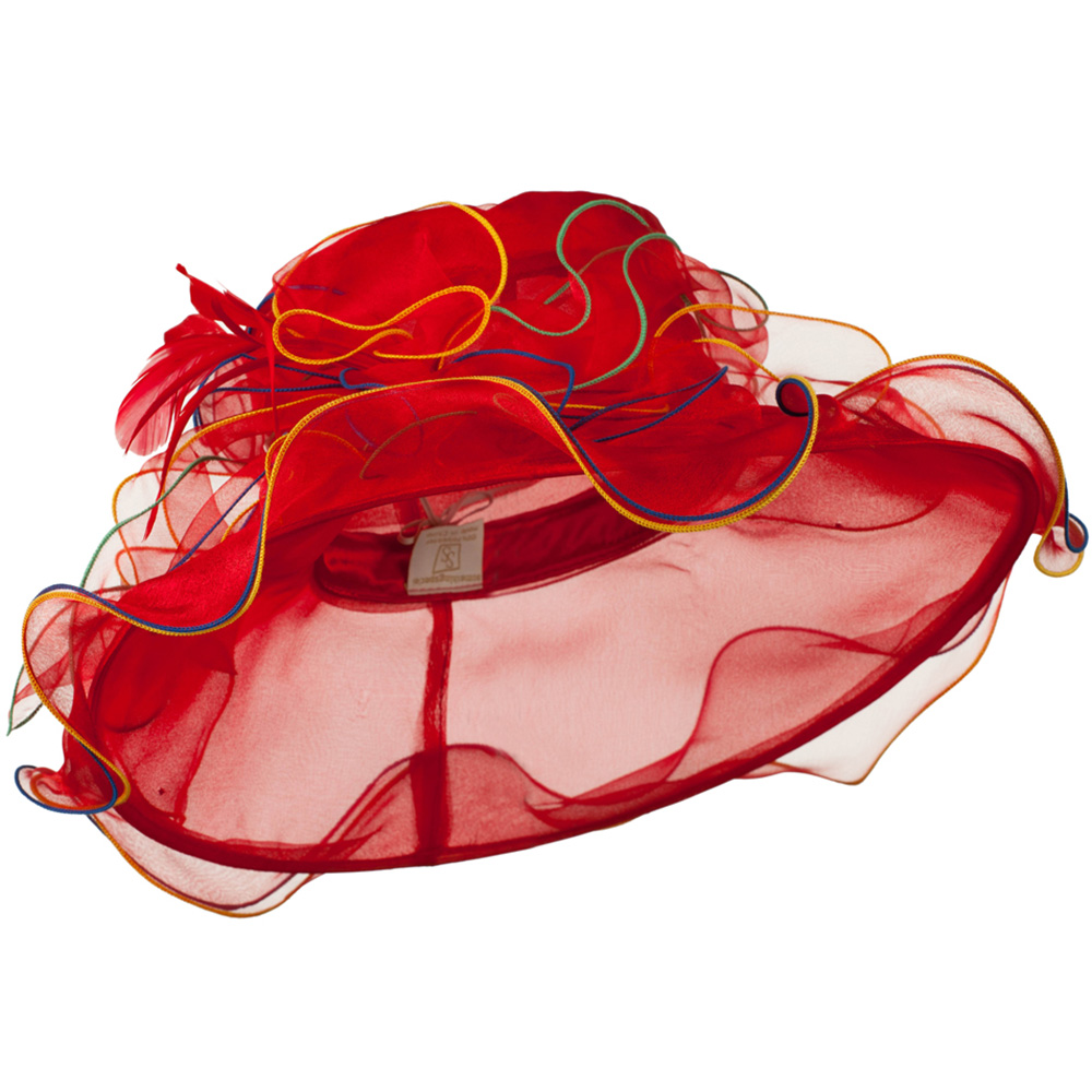 Multi Colors Stitching Organza Hat - Red - Hats and Caps Online Shop - Hip Head Gear