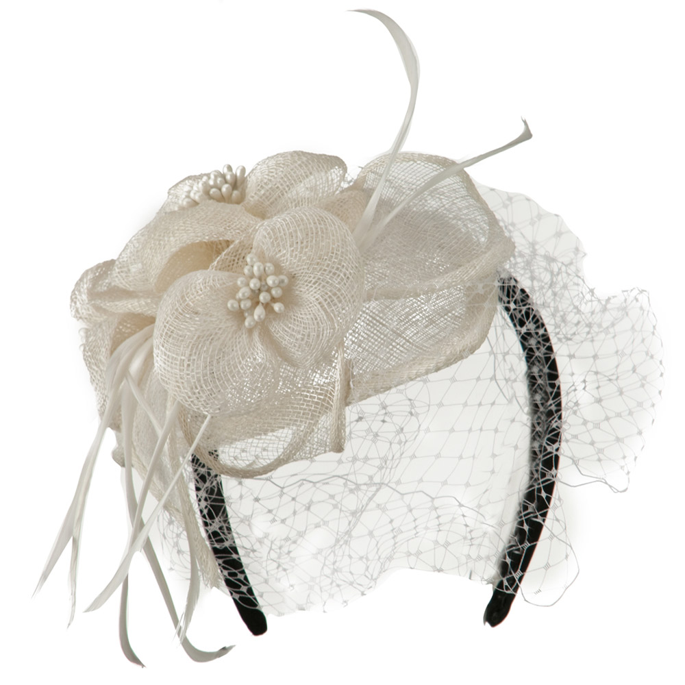 Sinamay Tear Drop Cocktail Hat - White - Hats and Caps Online Shop - Hip Head Gear