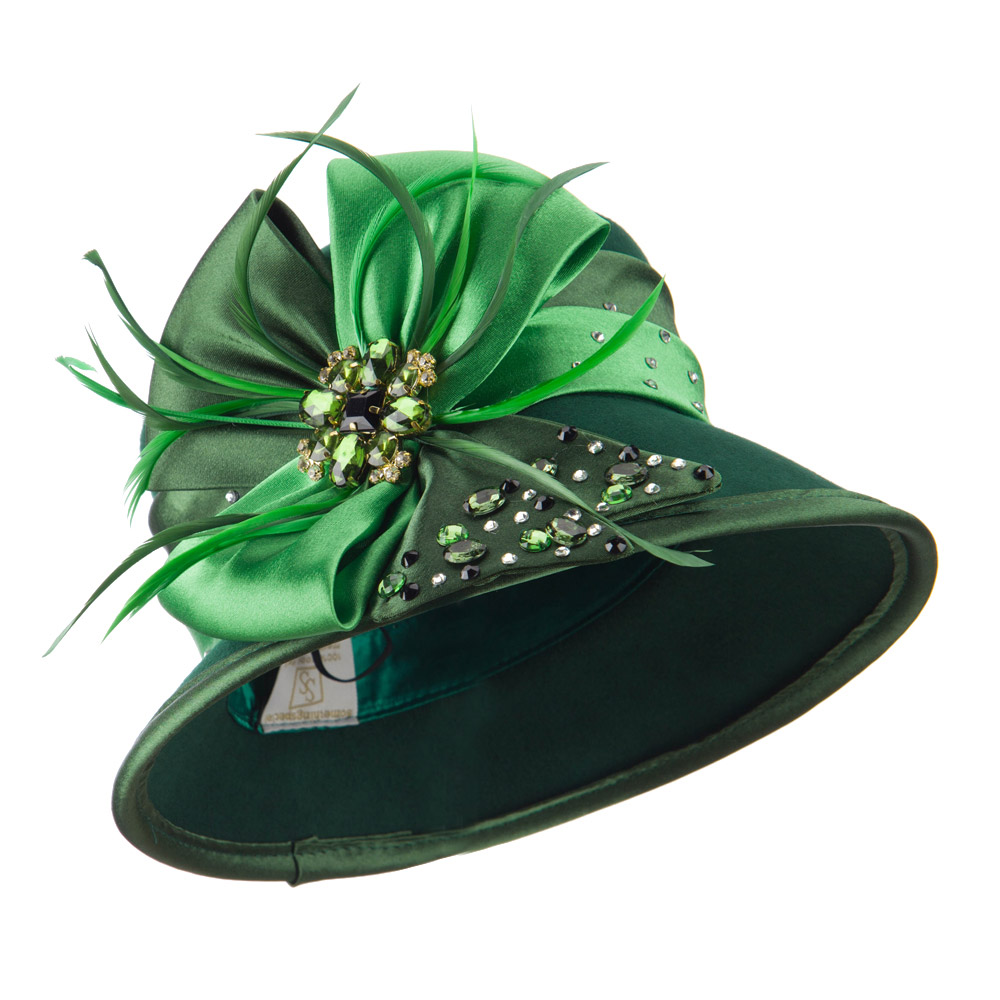 Wool Felt Dress Hat with Satin Bow - Green - Hats and Caps Online Shop - Hip Head Gear
