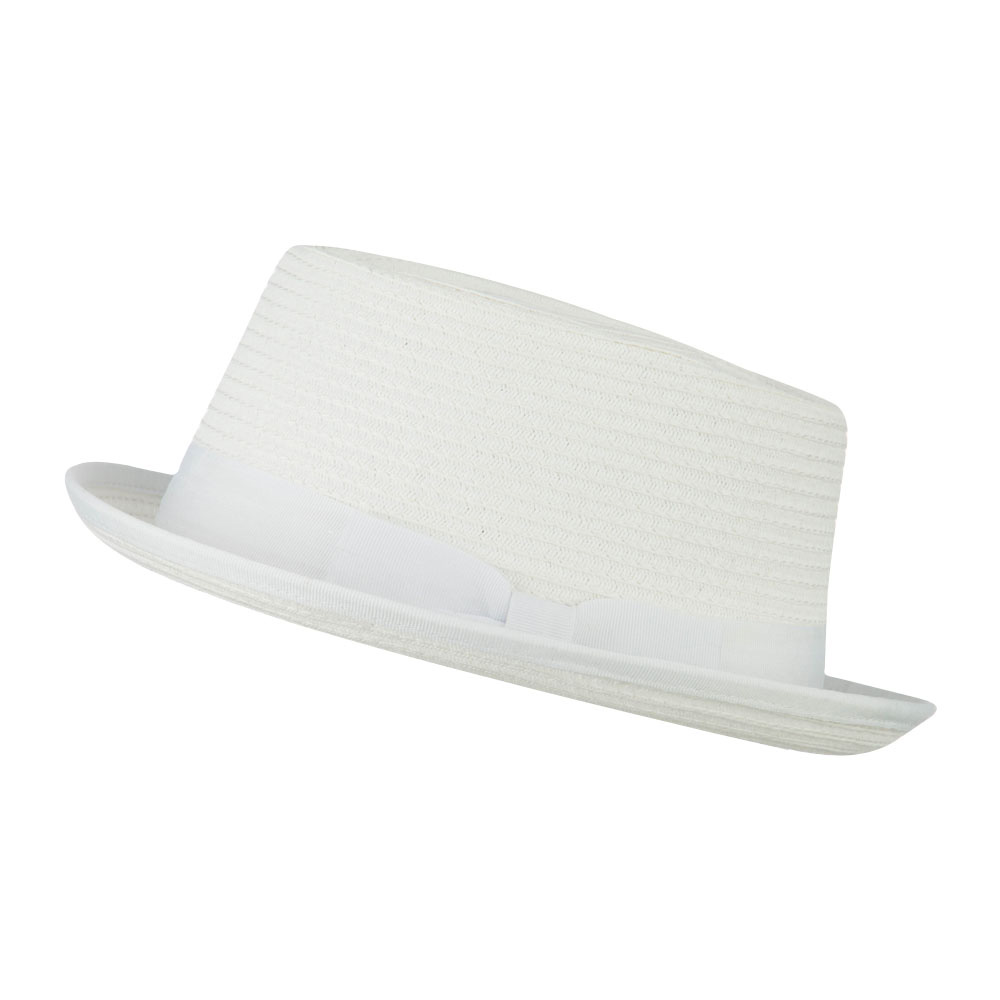 Stand Up Pork Pie Fedora - White - Hats and Caps Online Shop - Hip Head Gear