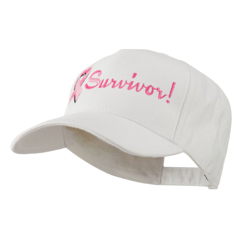 Breast Cancer Ribbon Survivor Embroidery Cap - White - Hats and Caps Online Shop - Hip Head Gear