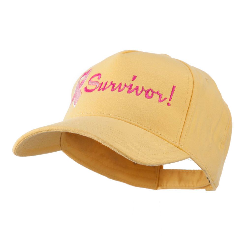 Breast Cancer Ribbon Survivor Embroidery Cap - Yellow - Hats and Caps Online Shop - Hip Head Gear