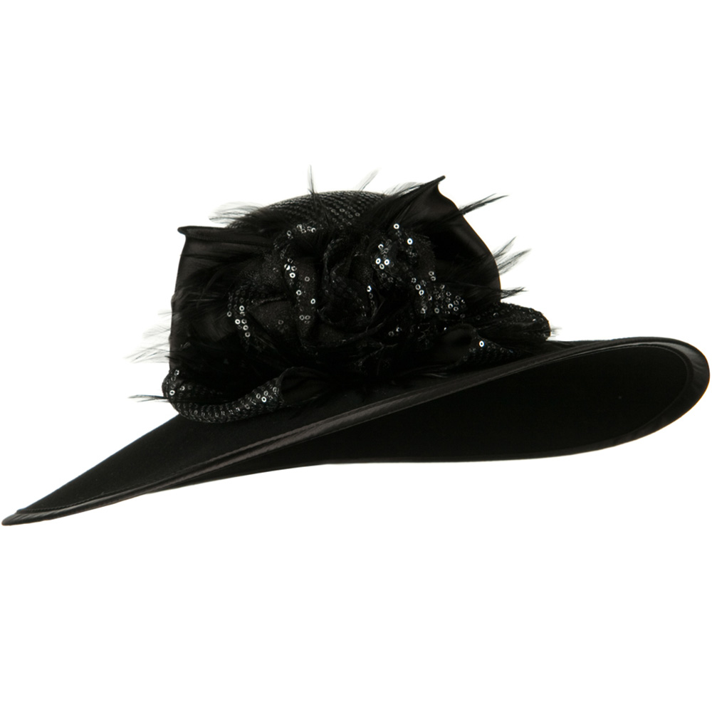 Sequin Crown Wool Felt Hat - Black Silver - Hats and Caps Online Shop - Hip Head Gear