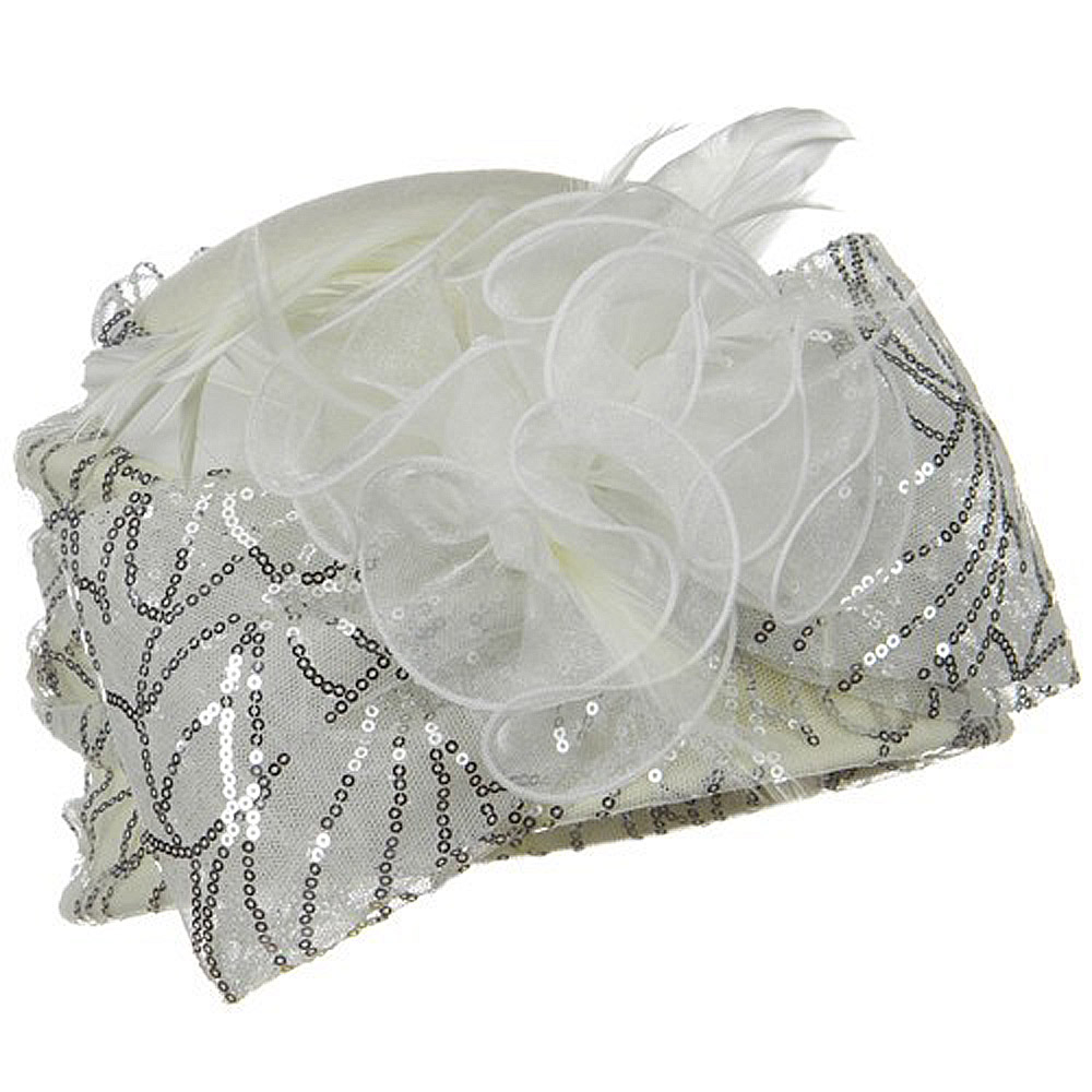 Sequin Wrap Wool Felt Cloche Hat - Ivory - Hats and Caps Online Shop - Hip Head Gear