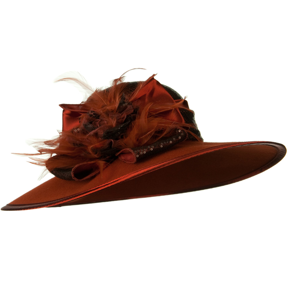 Sequin Crown Wool Felt Hat - Rust Brown - Hats and Caps Online Shop - Hip Head Gear