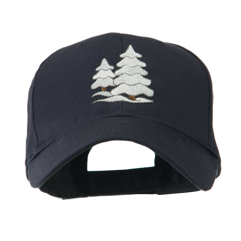 Christmas Trees with Snow Embroidered Cap - Navy