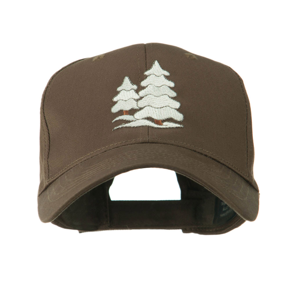 Christmas Trees with Snow Embroidered Cap - Brown