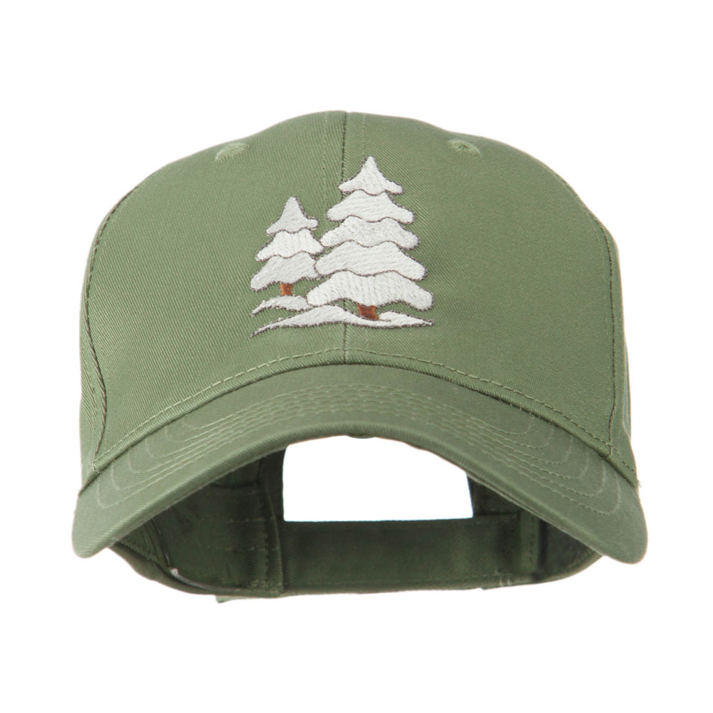 Christmas Trees with Snow Embroidered Cap - Olive