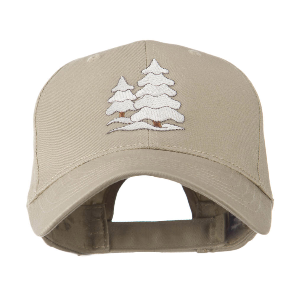 Christmas Trees with Snow Embroidered Cap - Khaki