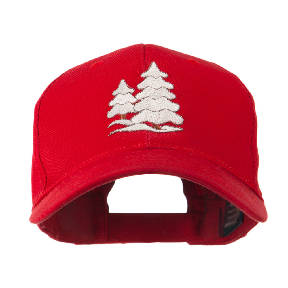 Christmas Trees with Snow Embroidered Cap - Red