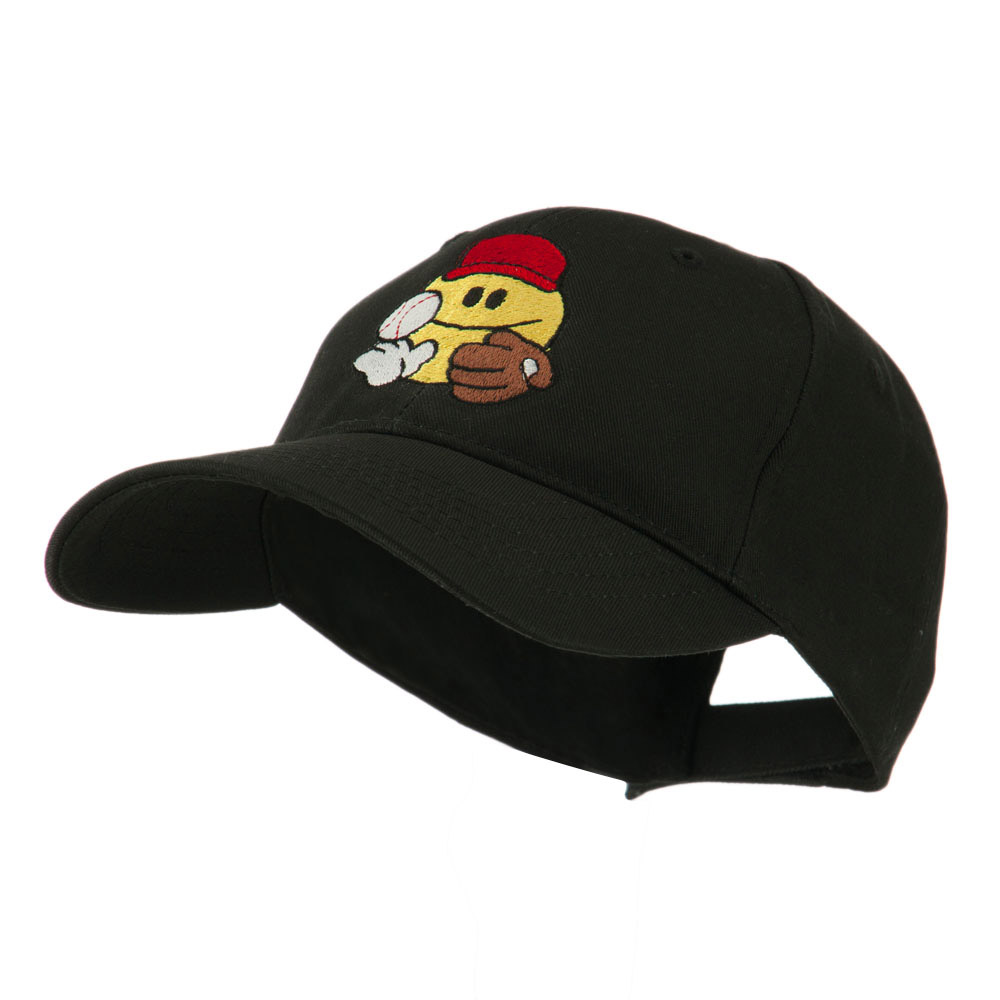Baseball Smiley Glove and Ball Embroidered Cap - Black - Hats and Caps Online Shop - Hip Head Gear
