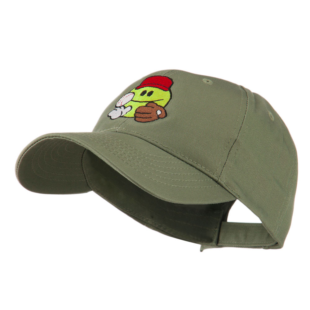 Baseball Smiley Glove and Ball Embroidered Cap - Olive - Hats and Caps Online Shop - Hip Head Gear