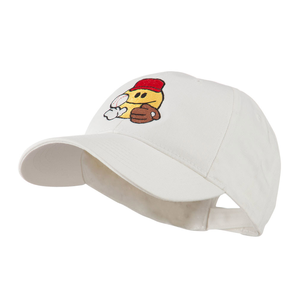 Baseball Smiley Glove and Ball Embroidered Cap - White - Hats and Caps Online Shop - Hip Head Gear