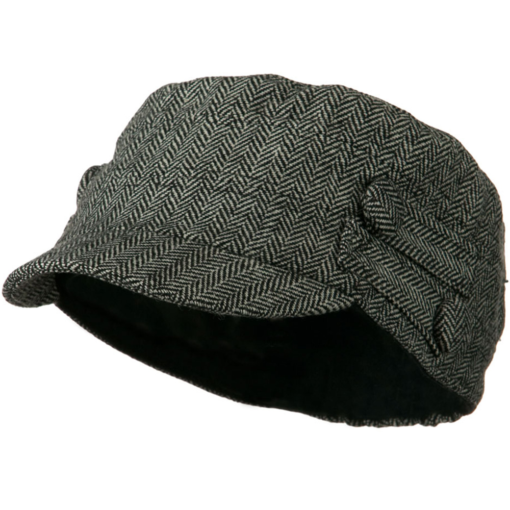 Tweed Military Cadet Cap with 4 buttons - Black White - Hats and Caps Online Shop - Hip Head Gear