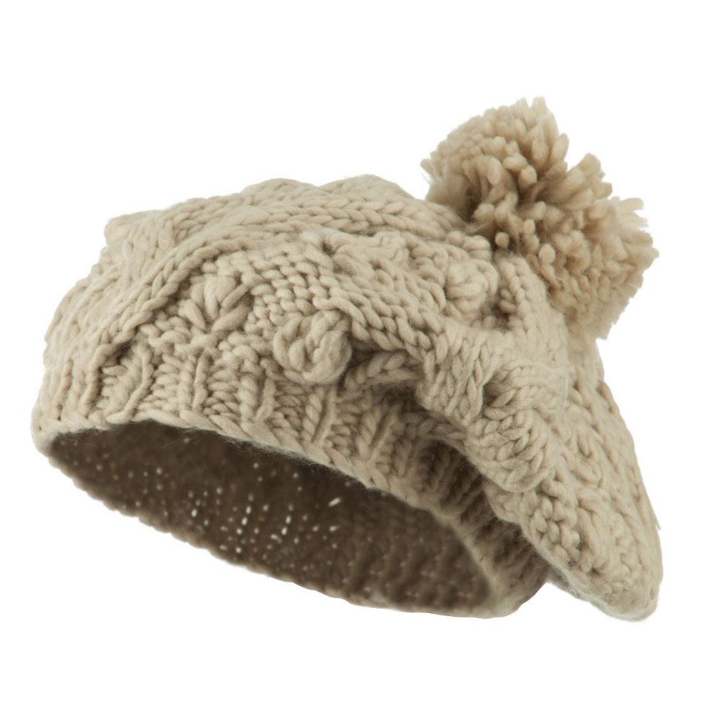 Twist Beret Knitted with Pom Pom - Beige - Hats and Caps Online Shop - Hip Head Gear