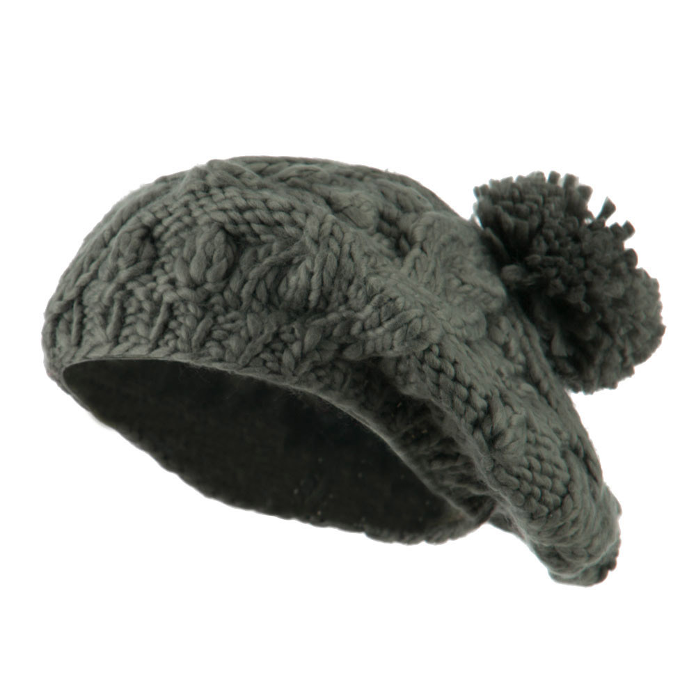 Twist Beret Knitted with Pom Pom - Dark Grey - Hats and Caps Online Shop - Hip Head Gear