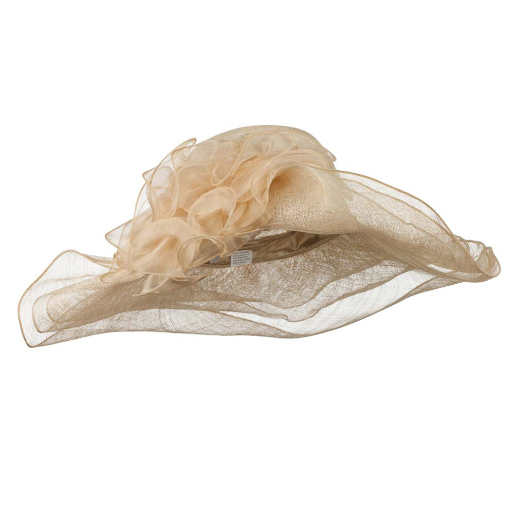 Sheer Ribbon Floral 3 Tier Brim Sinamay Hat - Beige - Hats and Caps Online Shop - Hip Head Gear