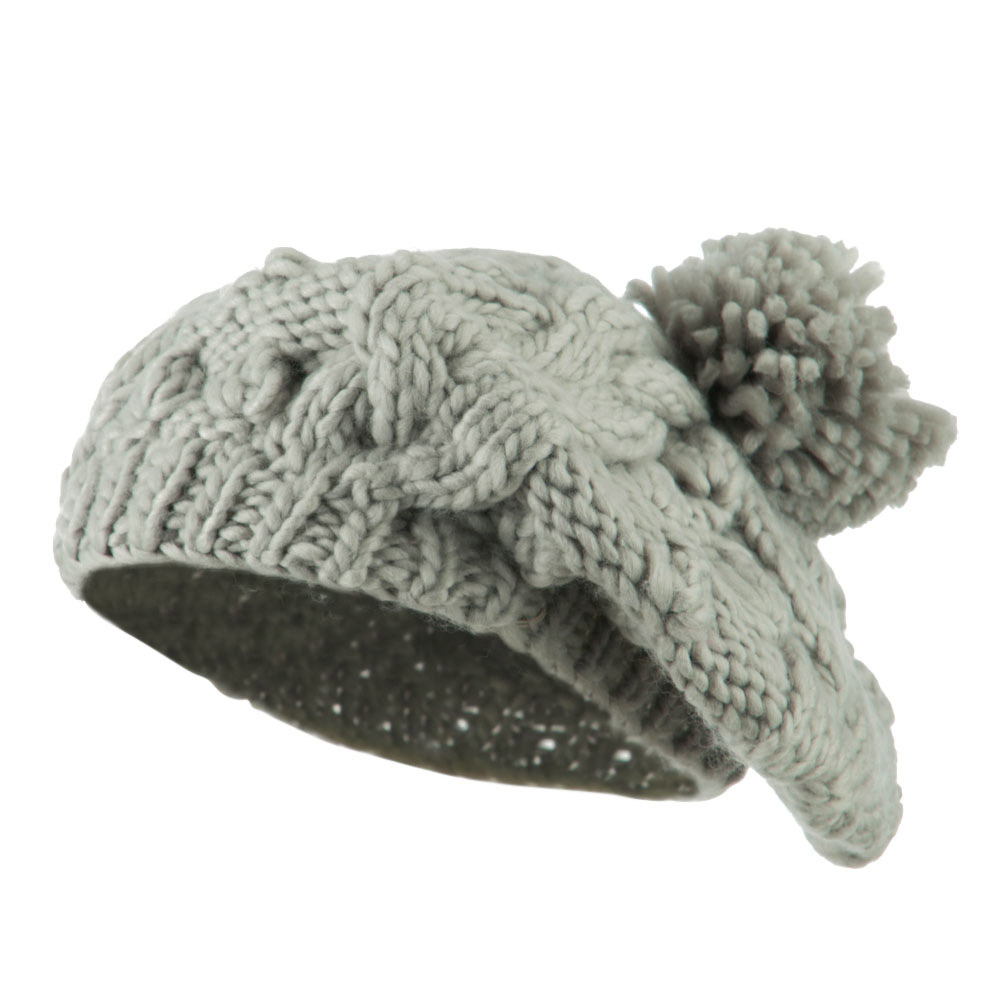 Twist Beret Knitted with Pom Pom - Light Grey - Hats and Caps Online Shop - Hip Head Gear