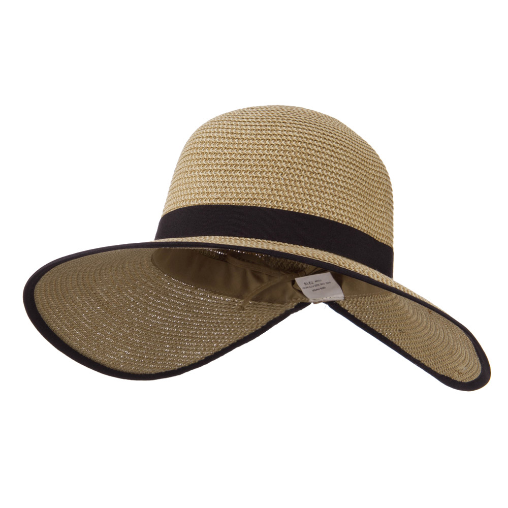 Tweed Back Bow Accent Paper Straw Hat - Khaki - Hats and Caps Online Shop - Hip Head Gear
