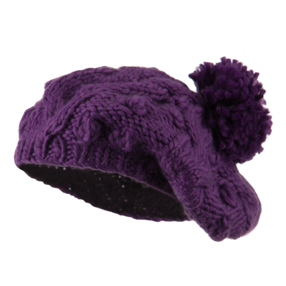 Twist Beret Knitted with Pom Pom - Purple - Hats and Caps Online Shop - Hip Head Gear