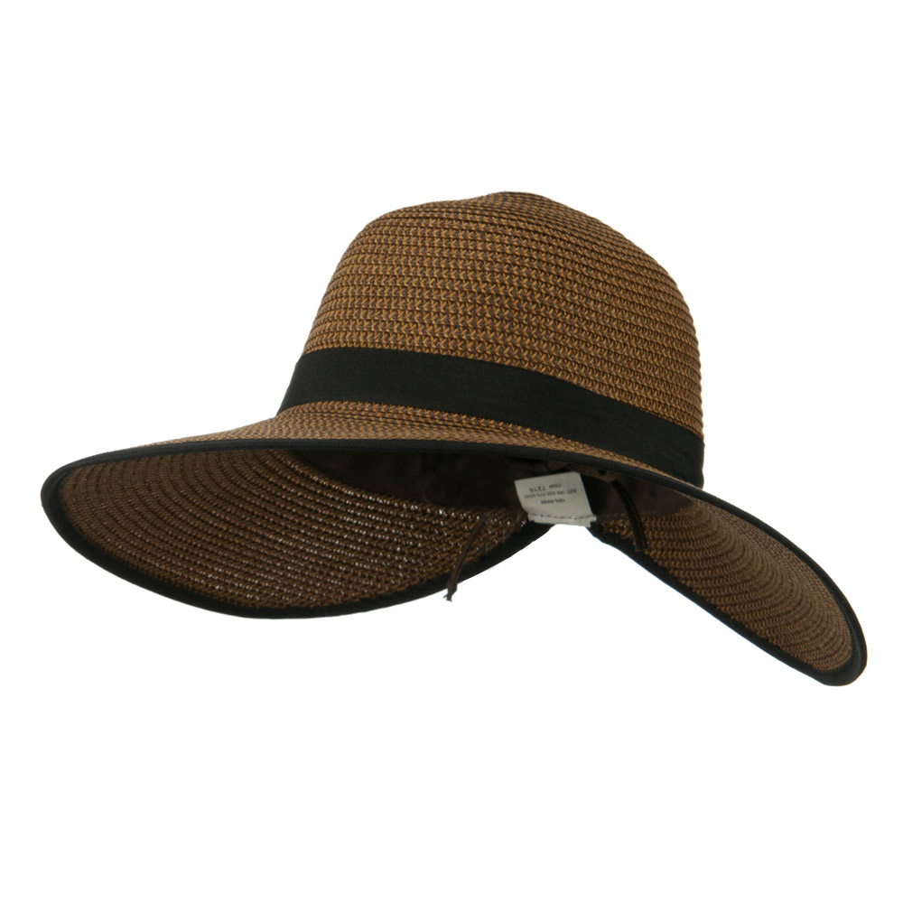 Tweed Back Bow Accent Paper Straw Hat - Brown - Hats and Caps Online Shop - Hip Head Gear