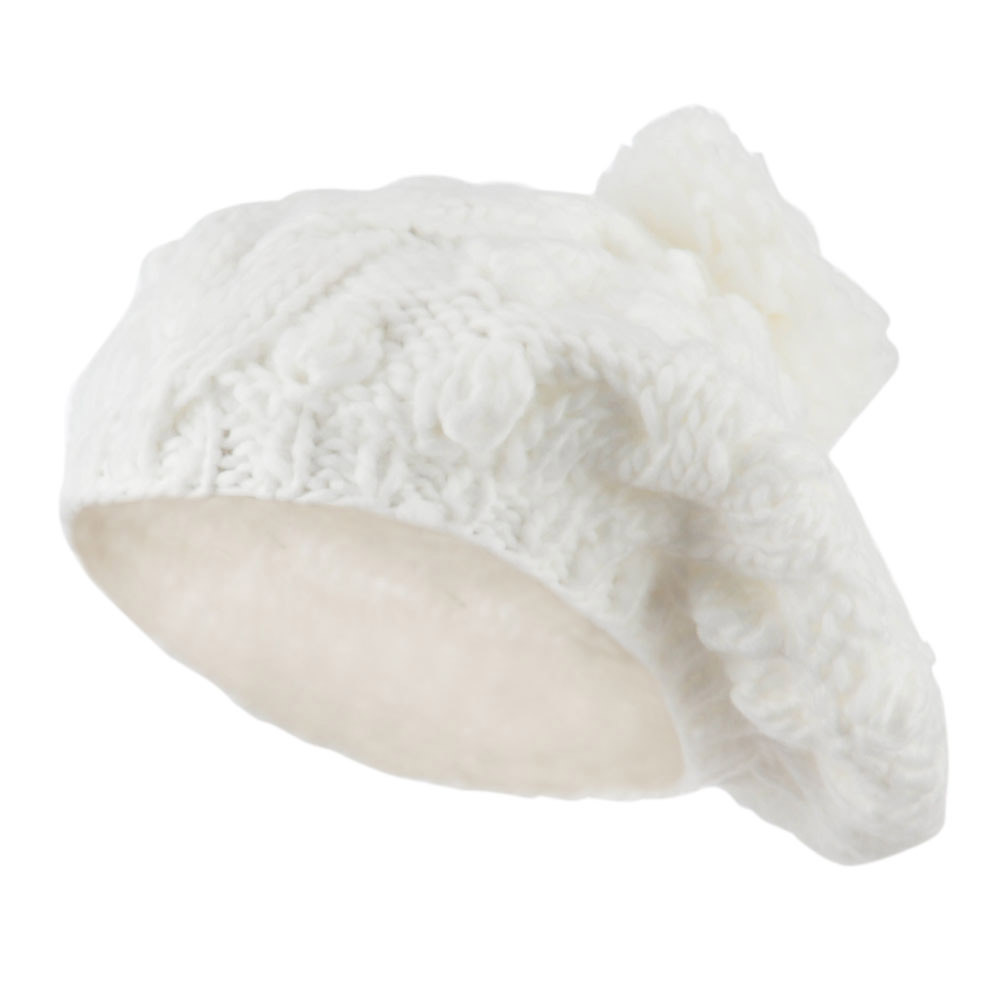 Twist Beret Knitted with Pom Pom - White - Hats and Caps Online Shop - Hip Head Gear