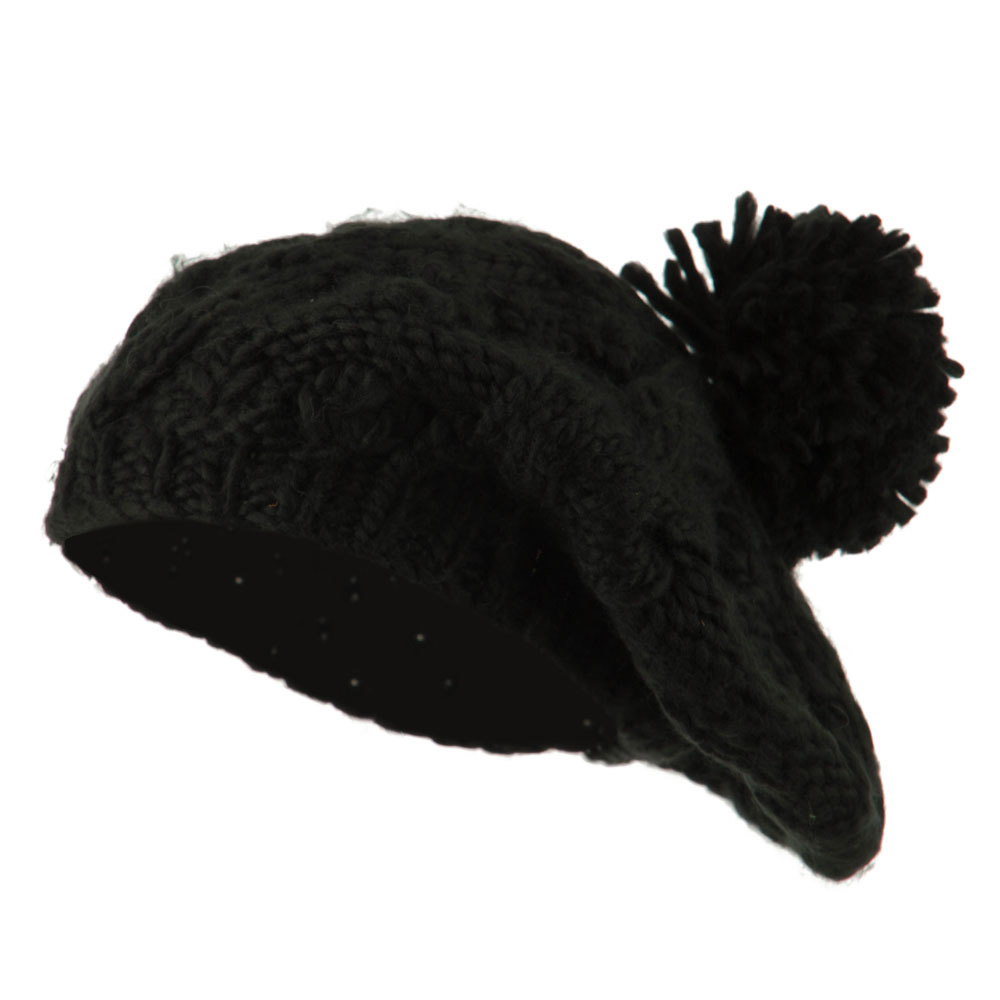 Twist Beret Knitted with Pom Pom - Black - Hats and Caps Online Shop - Hip Head Gear