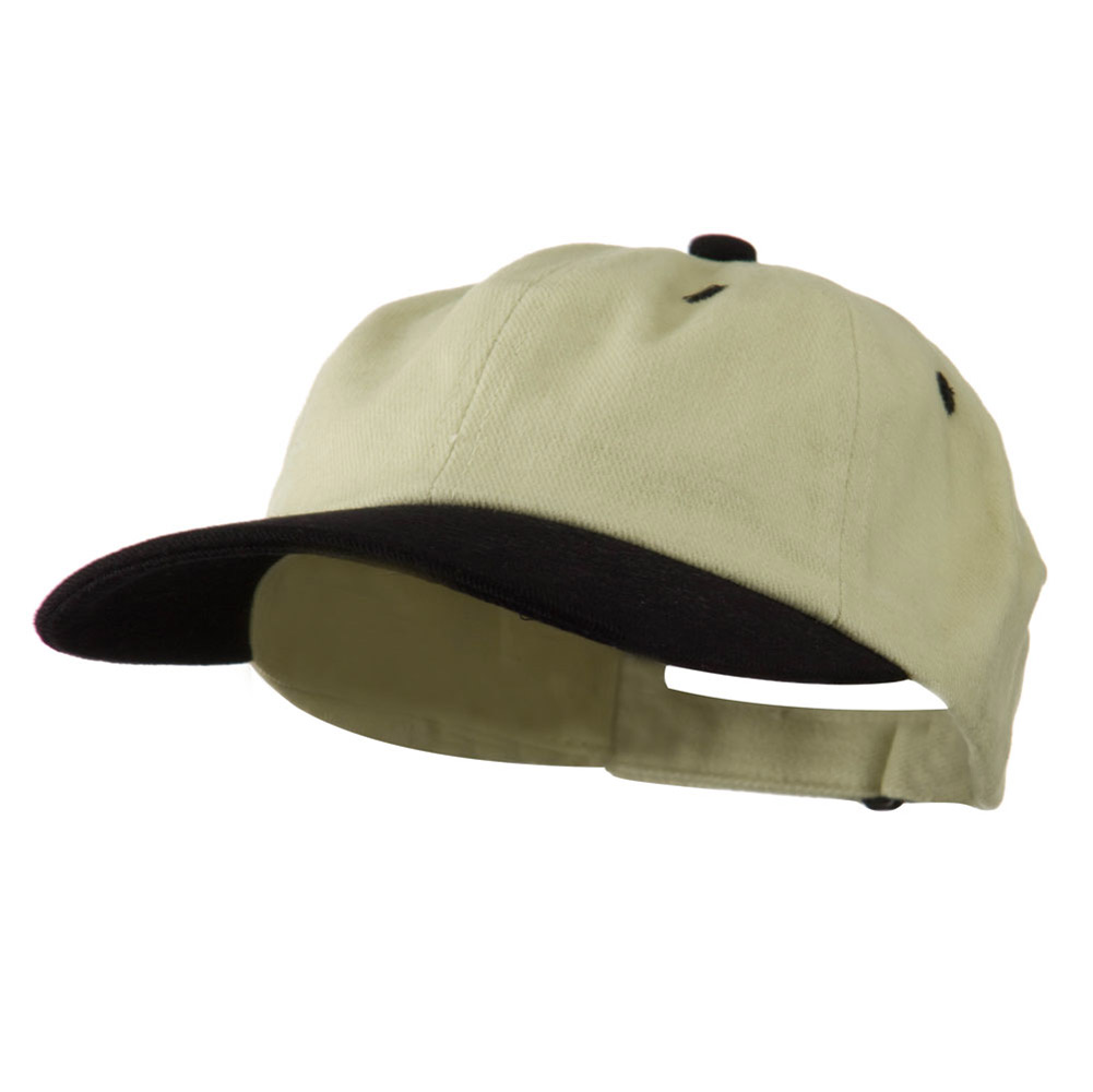 Low Profile Heavy Brushed Cotton Twill Cap - Beige Navy - Hats and Caps Online Shop - Hip Head Gear