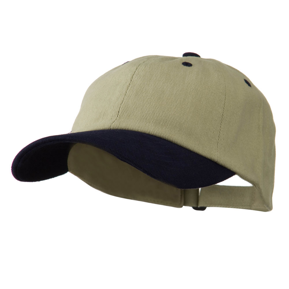 Low Profile Heavy Brushed Cotton Twill Cap - Khaki Navy - Hats and Caps Online Shop - Hip Head Gear