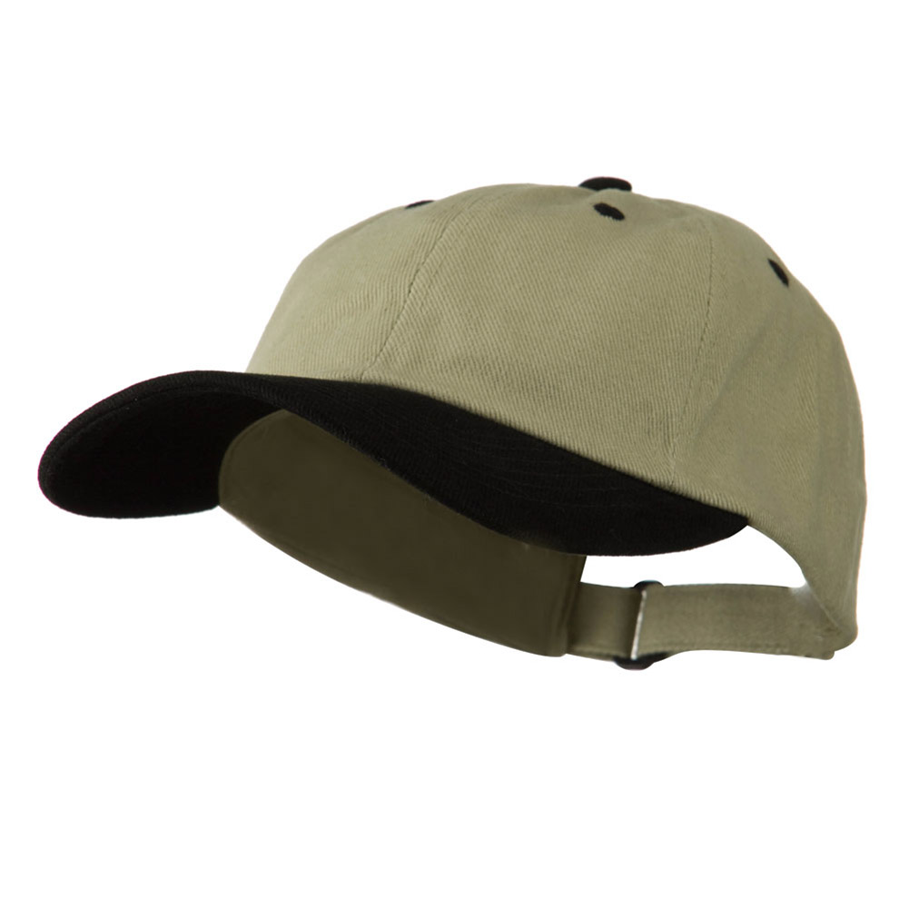 Low Profile Heavy Brushed Cotton Twill Cap - Khaki Black - Hats and Caps Online Shop - Hip Head Gear