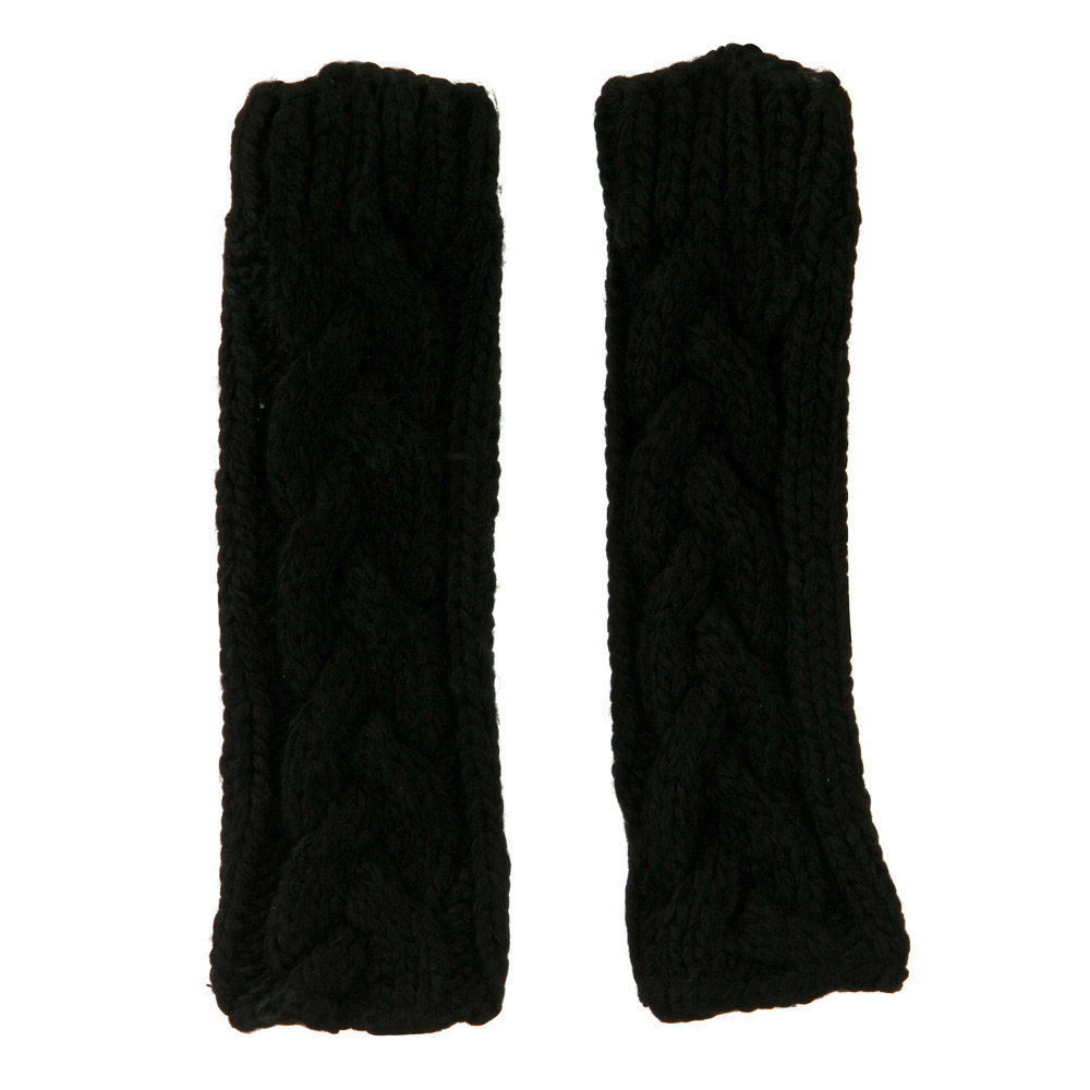 11 Inches Thick Cable Fingerless Arm Warmer - Black