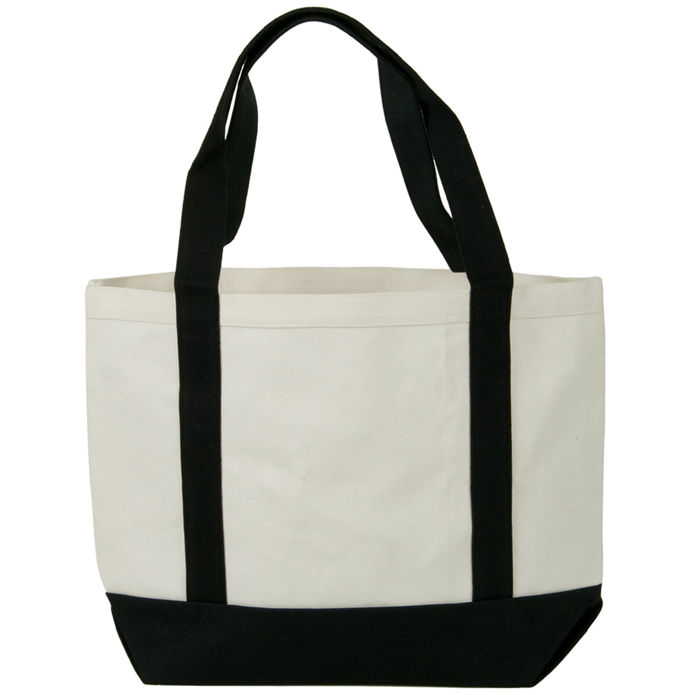 Two Tone Cotton Canvas Tote Bag - White Black