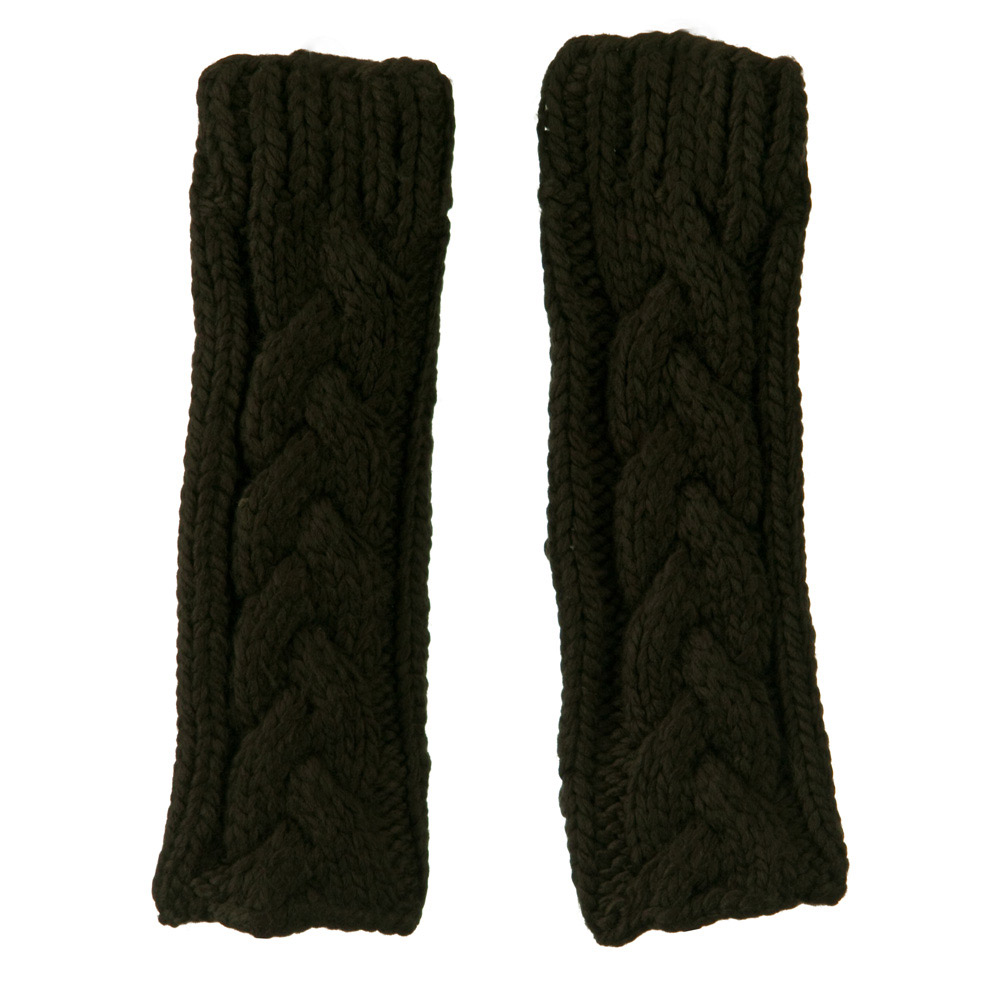 11 Inches Thick Cable Fingerless Arm Warmer - Dark Grey - Hats and Caps Online Shop - Hip Head Gear