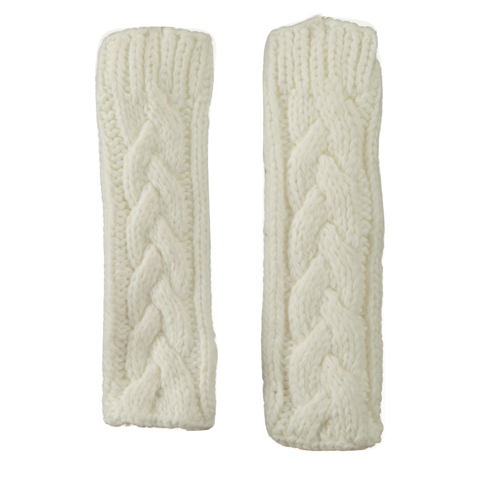 11 Inches Thick Cable Fingerless Arm Warmer - Ivory