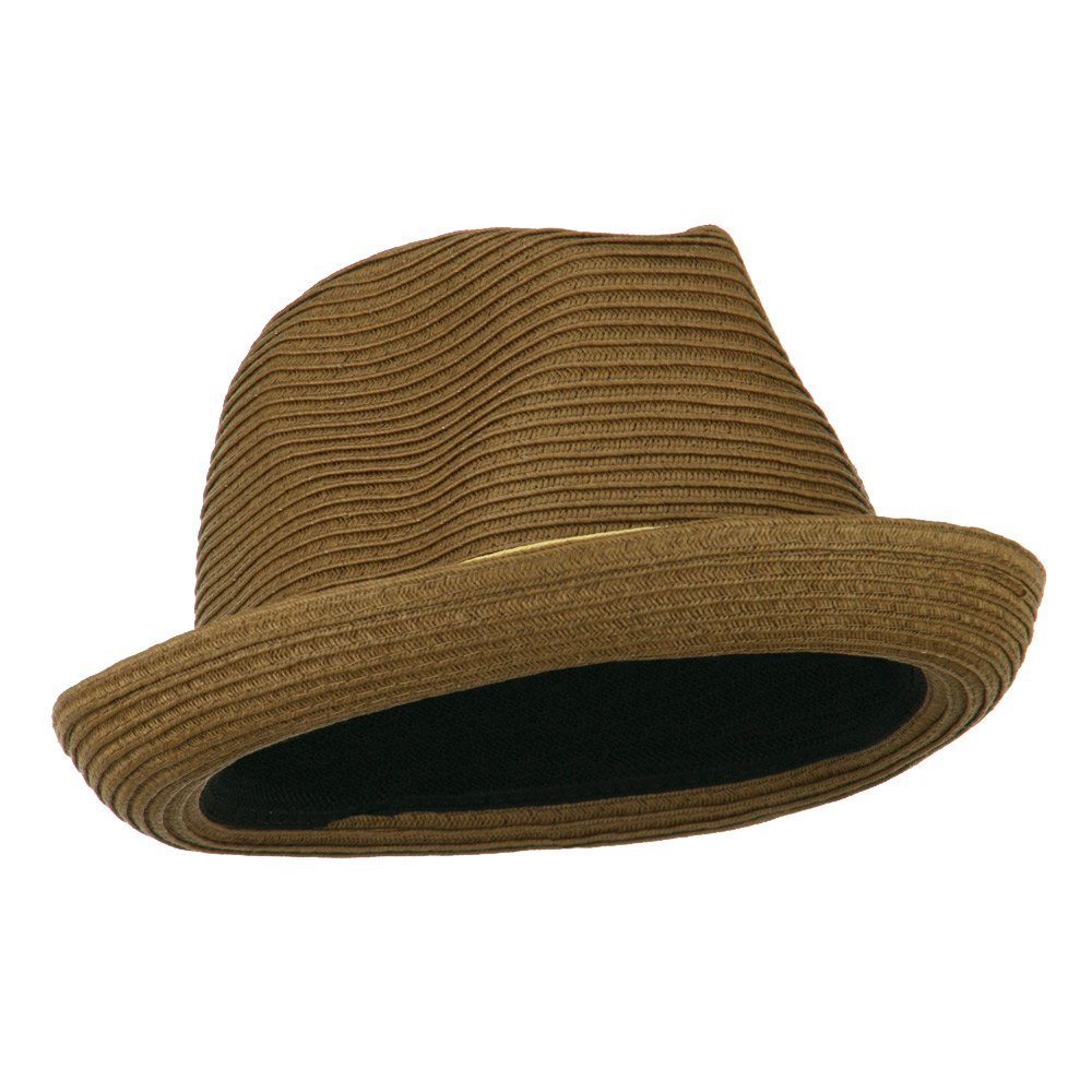 Tri-Colored Men's Fedora Paper Straw Hat - Light Brown - Hats and Caps Online Shop - Hip Head Gear