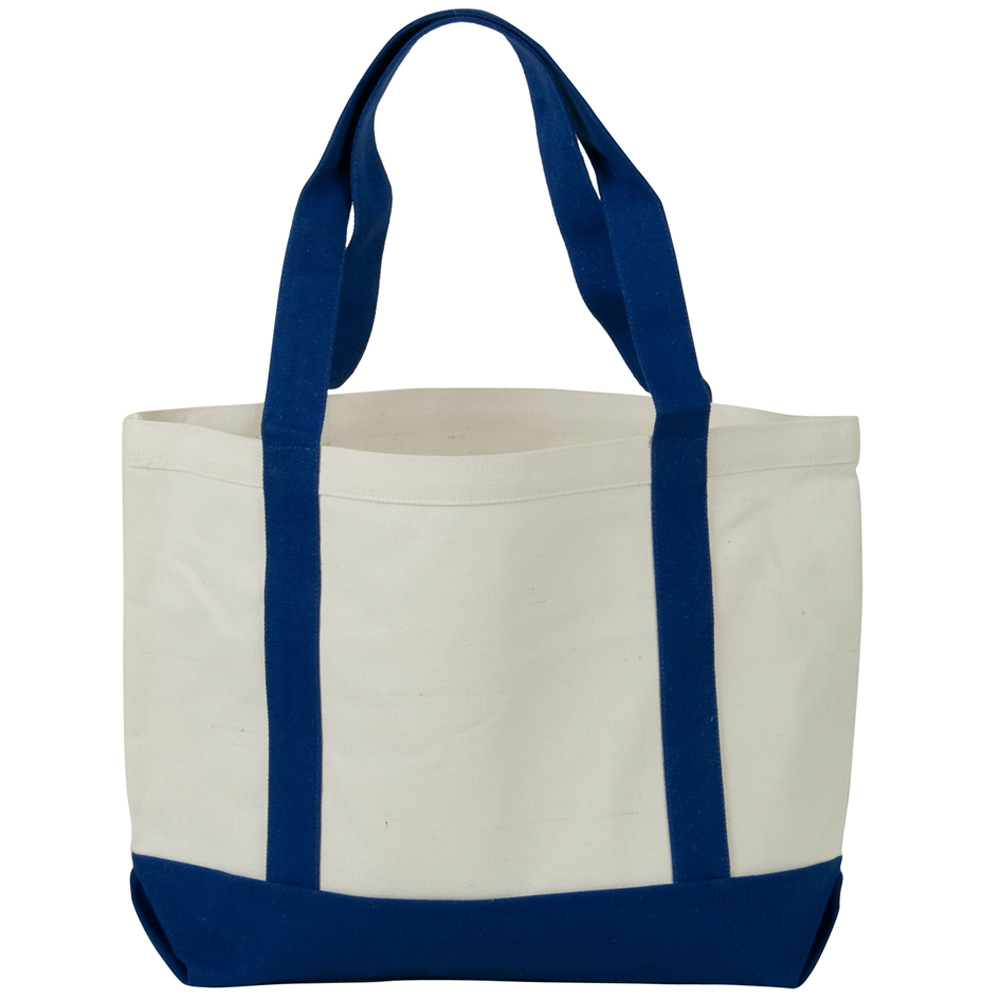Two Tone Cotton Canvas Tote Bag - White Royal