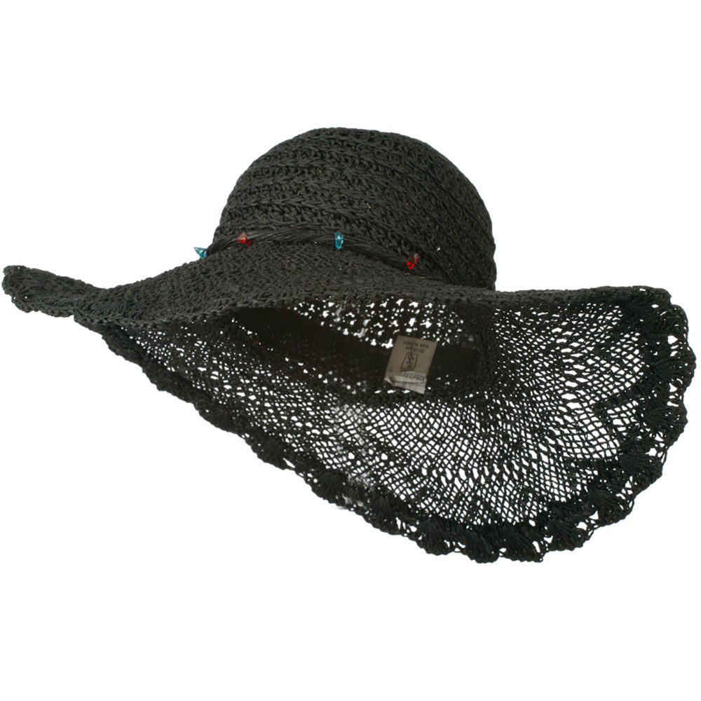 Hat with Twisted Trim and Bead - Black - Hats and Caps Online Shop - Hip Head Gear