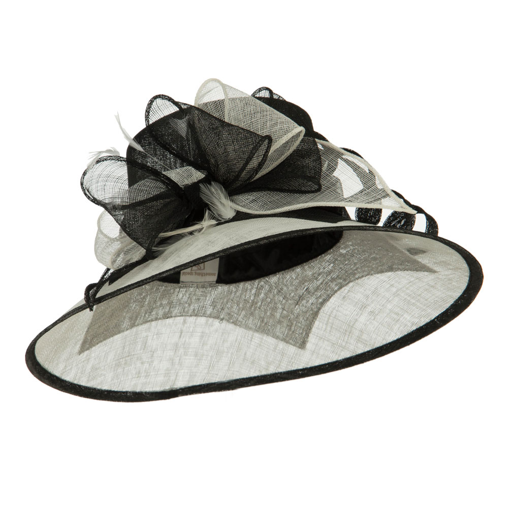 Two Tone Ribbon Double Band Sinamay Hat - Black White - Hats and Caps Online Shop - Hip Head Gear