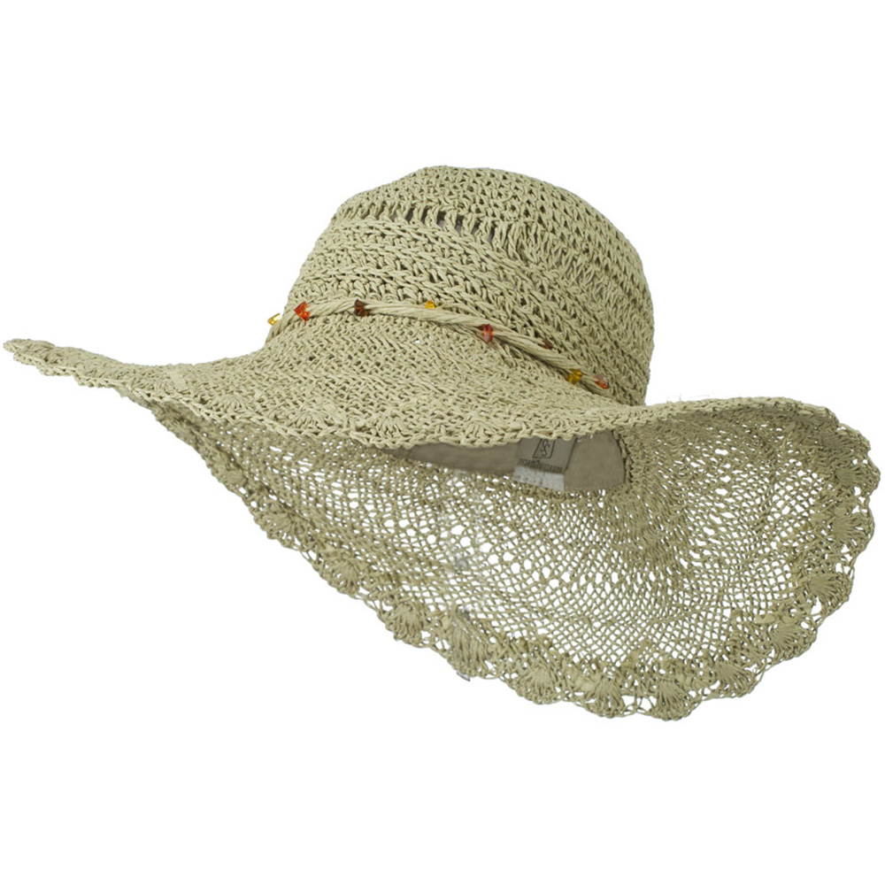 Hat with Twisted Trim and Bead - Natural - Hats and Caps Online Shop - Hip Head Gear