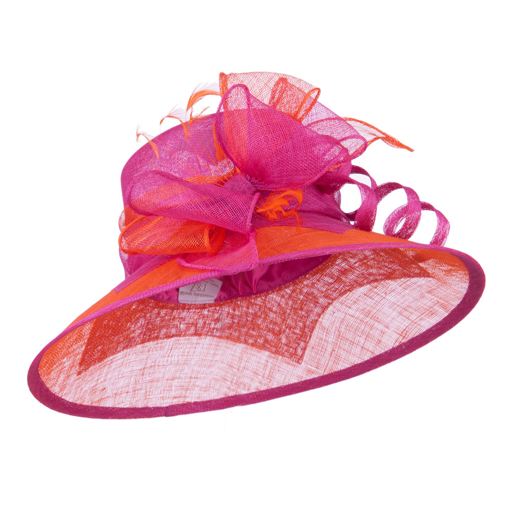 Two Tone Ribbon Double Band Sinamay Hat - Fuchsia Orange - Hats and Caps Online Shop - Hip Head Gear