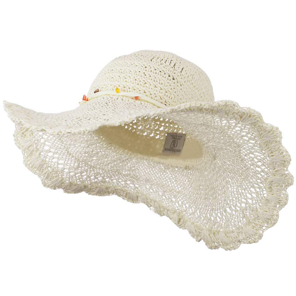 Hat with Twisted Trim and Bead - Ivory - Hats and Caps Online Shop - Hip Head Gear
