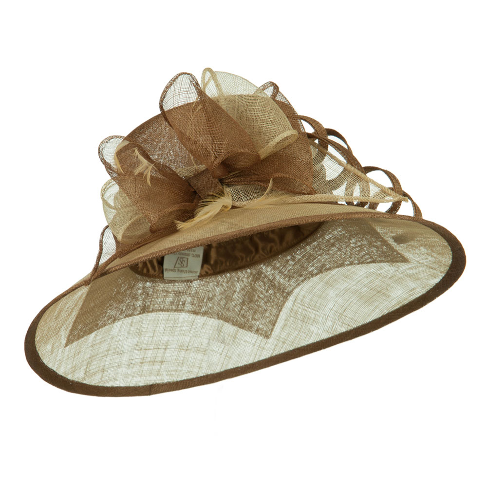Two Tone Ribbon Double Band Sinamay Hat - Luggage Champagne - Hats and Caps Online Shop - Hip Head Gear
