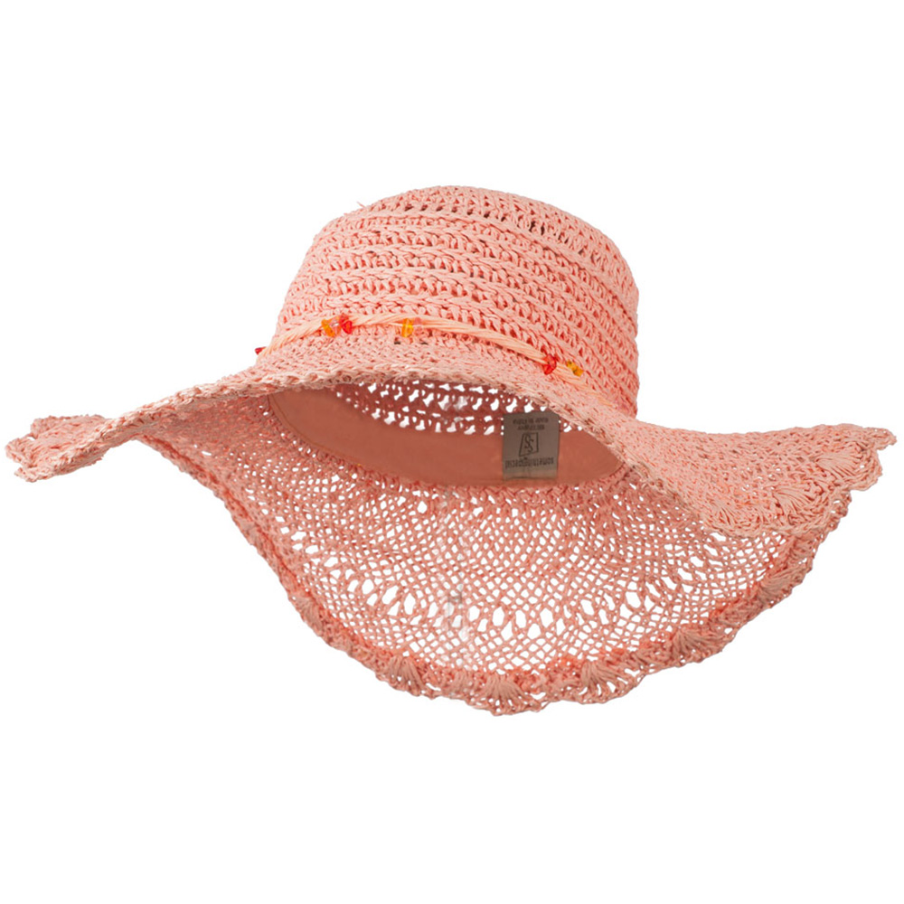 Hat with Twisted Trim and Bead - Coral - Hats and Caps Online Shop - Hip Head Gear