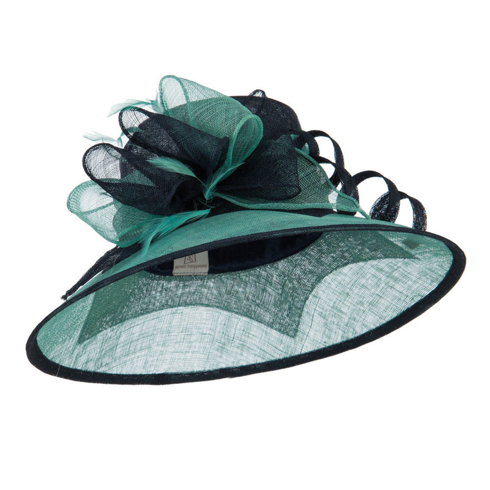 Two Tone Ribbon Double Band Sinamay Hat - Navy Mint - Hats and Caps Online Shop - Hip Head Gear