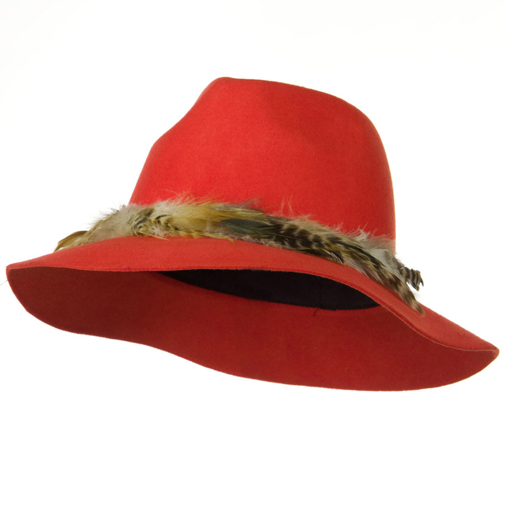 Fedora Hat with Feather Trim - Red - Hats and Caps Online Shop - Hip Head Gear