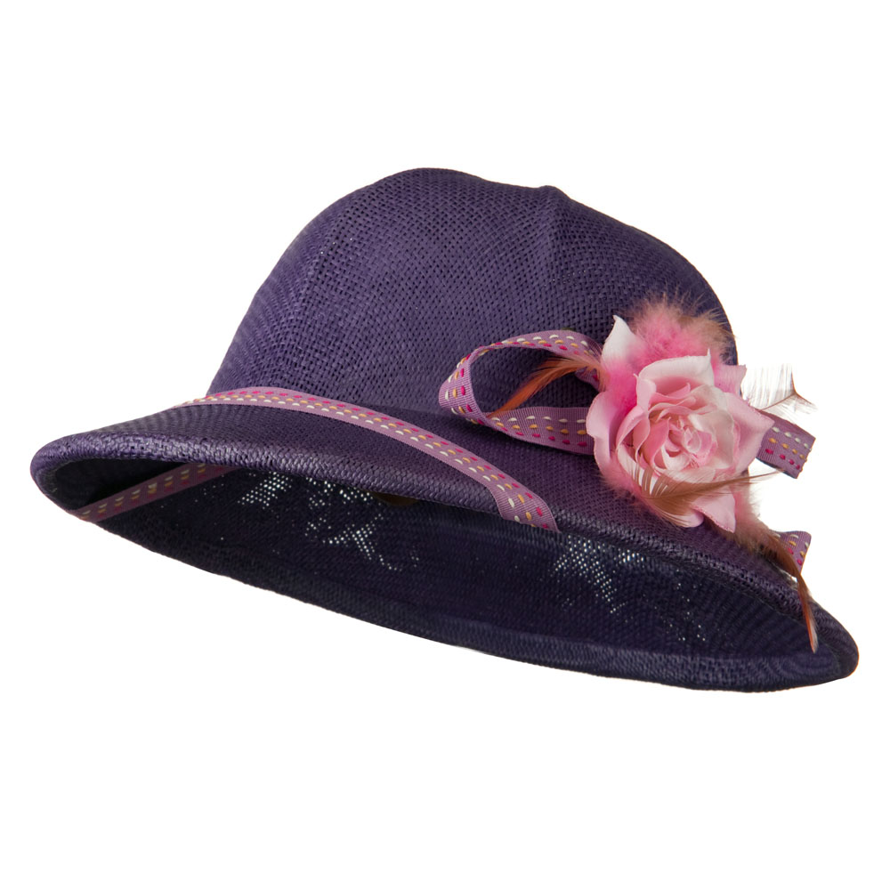 Pith Helmet Twisted Toyo with Flower Ribbon - Purple - Hats and Caps Online Shop - Hip Head Gear