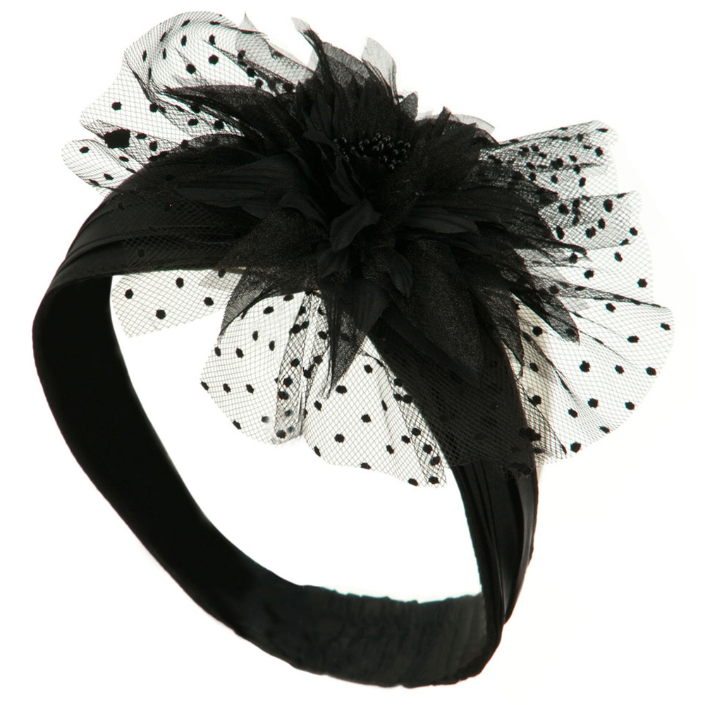 Heandband with Tulle and Flower Trim - Black - Hats and Caps Online Shop - Hip Head Gear