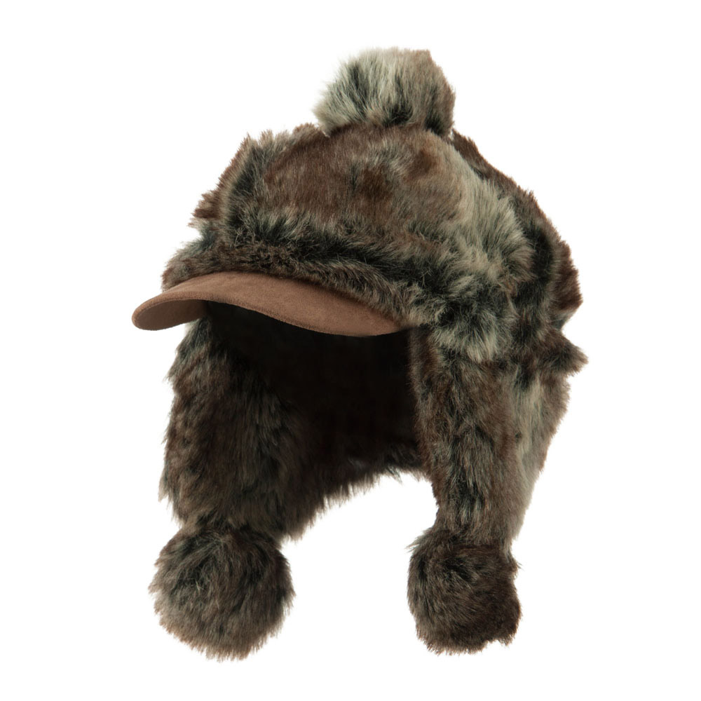 Faux Fur Trapper Hat with  Pom Pom Accent - Brown - Hats and Caps Online Shop - Hip Head Gear